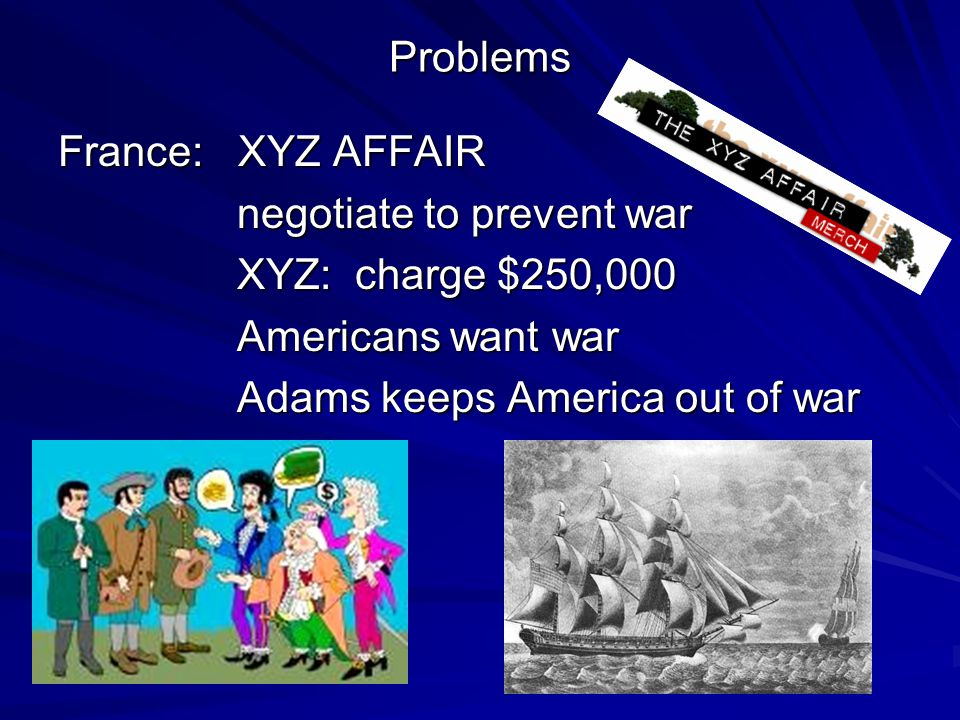 Problems France: XYZ AFFAIR negotiate to prevent war negotiate to prevent war XYZ: charge $250,000 XYZ: charge $250,000 Americans want war Americans w