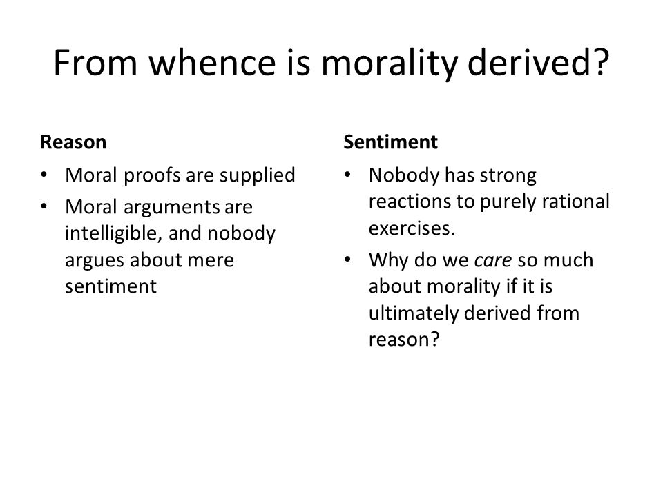 From whence is morality derived.