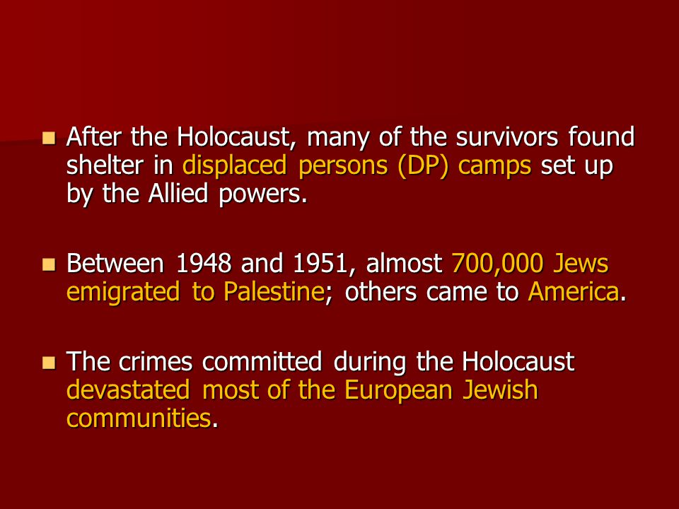 After the Holocaust, many of the survivors found shelter in displaced persons (DP) camps set up by the Allied powers.