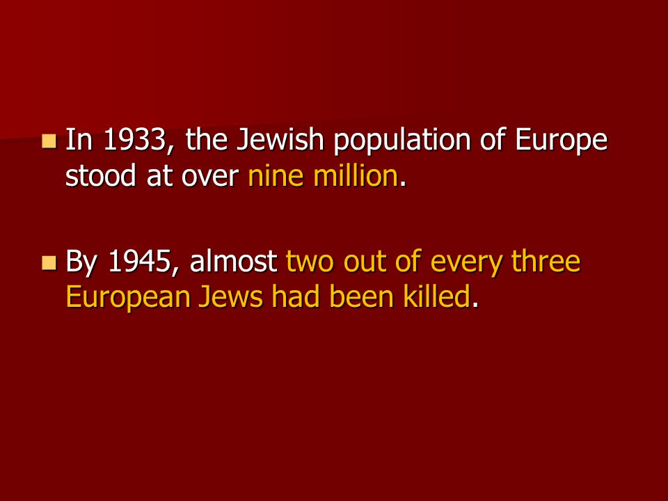 In 1933, the Jewish population of Europe stood at over nine million.