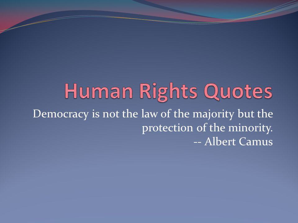 Democracy is not the law of the majority but the protection of the minority. -- Albert Camus
