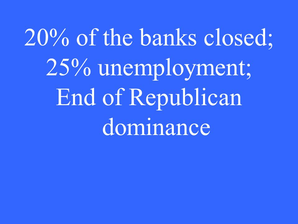 20% of the banks closed; 25% unemployment; End of Republican dominance