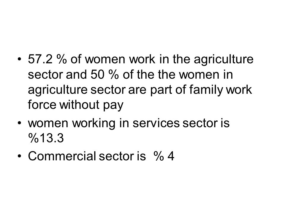 57.2 % of women work in the agriculture sector and 50 % of the the women in agriculture sector are part of family work force without pay women working in services sector is %13.3 Commercial sector is % 4
