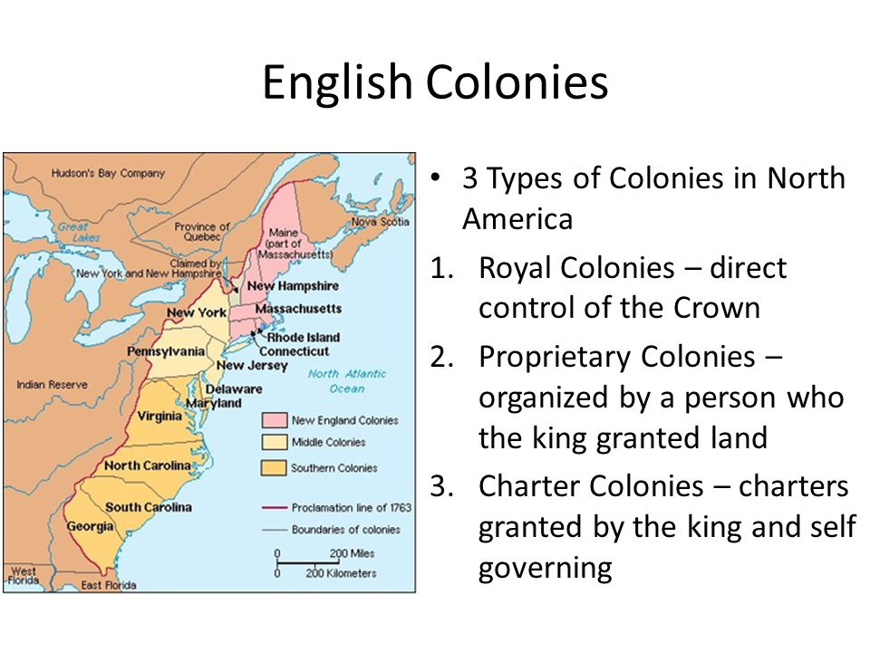 English Colonies 3 Types of Colonies in North America 1.Royal Colonies – direct control of the Crown 2.Proprietary Colonies – organized by a person who the king granted land 3.Charter Colonies – charters granted by the king and self governing
