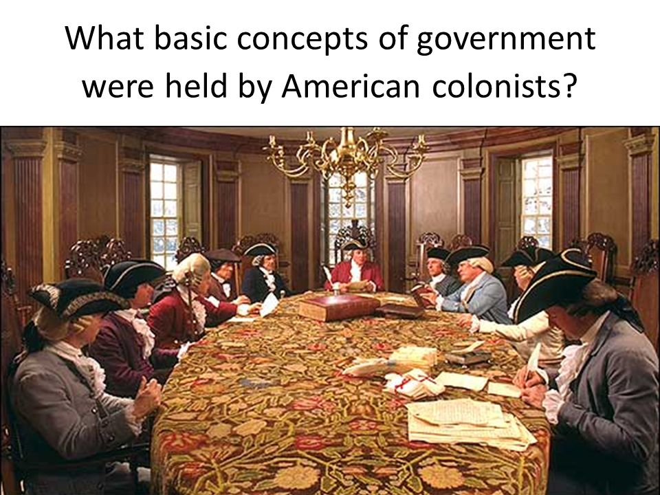 What basic concepts of government were held by American colonists