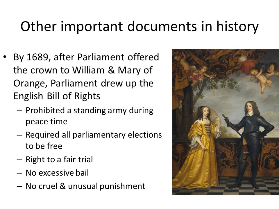 Important English Documents The way our government works today can be traced to important documents in history: