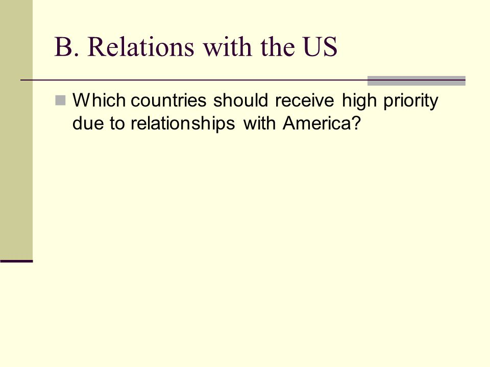 B. Relations with the US Which countries should receive high priority due to relationships with America?