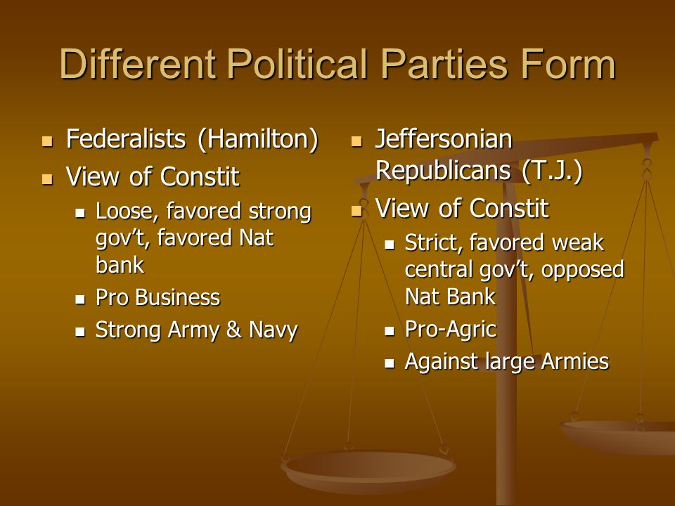 Different Political Parties Form Federalists (Hamilton) Federalists (Hamilton) View of Constit View of Constit Loose, favored strong gov't, favored Nat bank Loose, favored strong gov't, favored Nat bank Pro Business Pro Business Strong Army & Navy Strong Army & Navy Jeffersonian Republicans (T.J.) View of Constit Strict, favored weak central gov't, opposed Nat Bank Pro-Agric Against large Armies