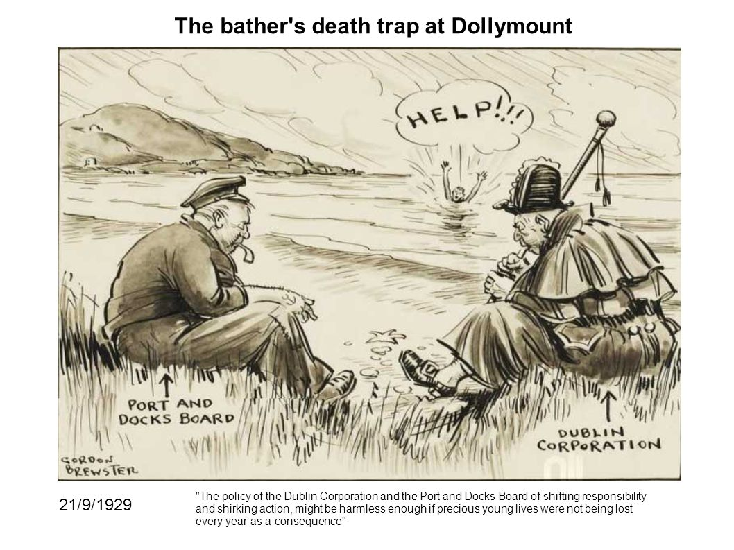 The bather s death trap at Dollymount 21/9/1929 The policy of the Dublin Corporation and the Port and Docks Board of shifting responsibility and shirking action, might be harmless enough if precious young lives were not being lost every year as a consequence