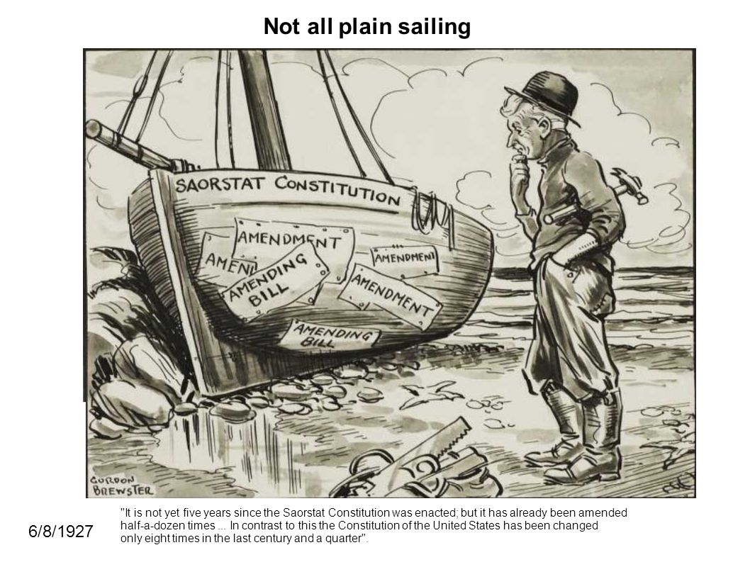 Not all plain sailing 6/8/1927 It is not yet five years since the Saorstat Constitution was enacted; but it has already been amended half-a-dozen times...