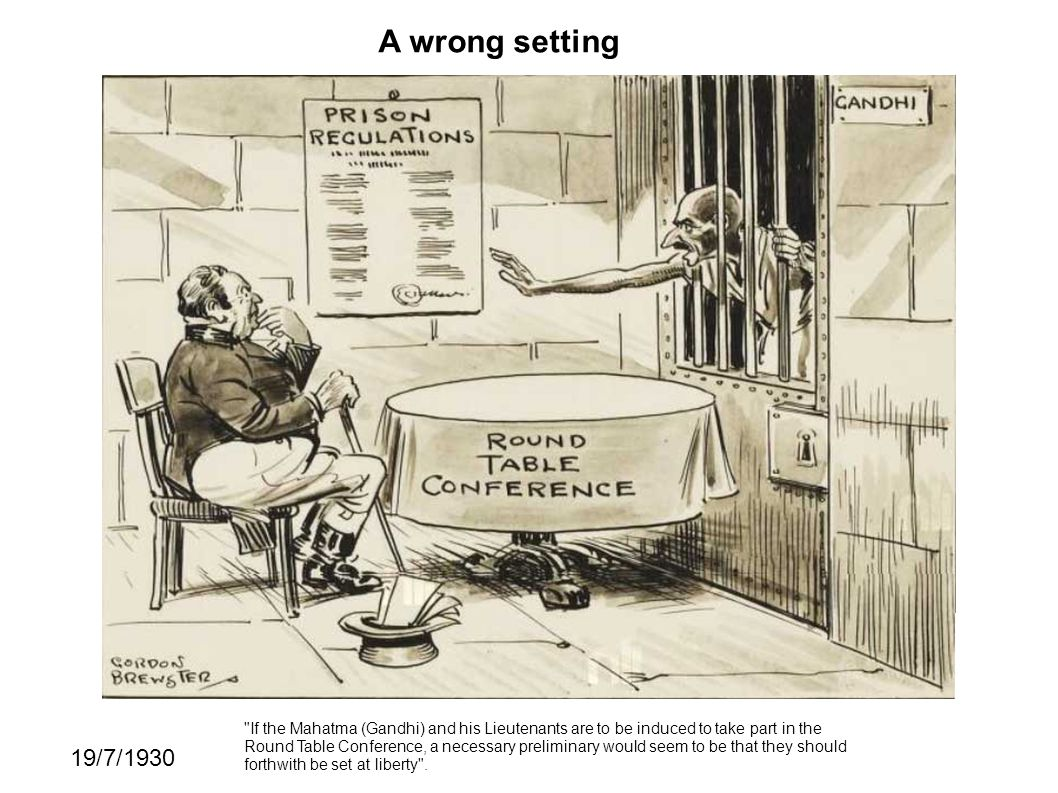 A wrong setting 19/7/1930 If the Mahatma (Gandhi) and his Lieutenants are to be induced to take part in the Round Table Conference, a necessary preliminary would seem to be that they should forthwith be set at liberty .