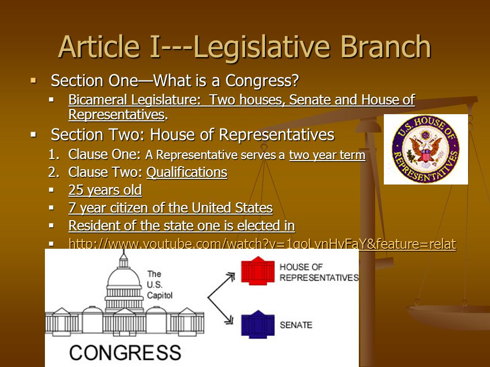 Article I---Legislative Branch  Section One—What is a Congress?  Bicameral Legislature: Two houses, Senate and House of Representatives.  Section T