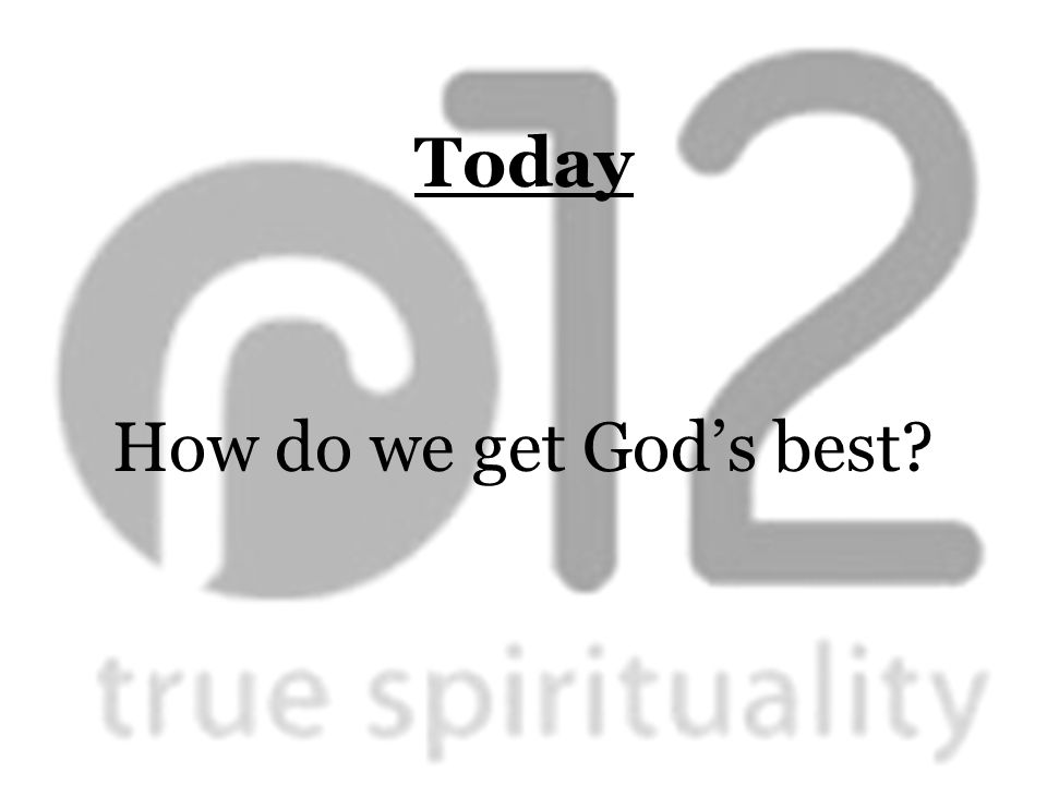 Today How do we get God's best