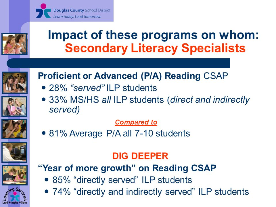 Impact of these programs on whom: Secondary Literacy Specialists Proficient or Advanced (P/A) Reading CSAP 28% served ILP students 33% MS/HS all ILP students (direct and indirectly served) Compared to 81% Average P/A all 7-10 students DIG DEEPER Year of more growth on Reading CSAP 85% directly served ILP students 74% directly and indirectly served ILP students