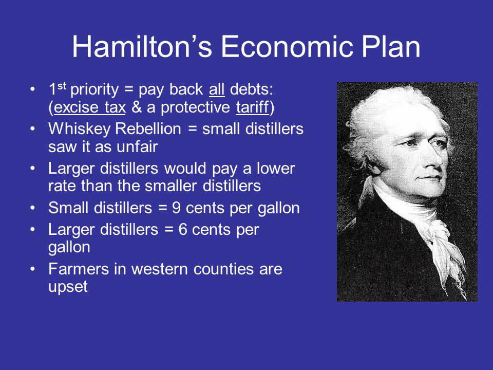 Hamilton's Economic Plan 1 st priority = pay back all debts: (excise tax & a protective tariff) Whiskey Rebellion = small distillers saw it as unfair Larger distillers would pay a lower rate than the smaller distillers Small distillers = 9 cents per gallon Larger distillers = 6 cents per gallon Farmers in western counties are upset