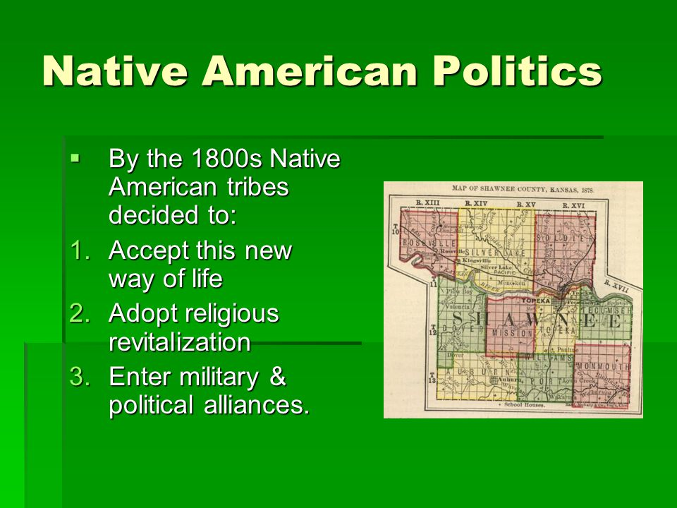 Native American Politics  By the 1800s Native American tribes decided to: 1.Accept this new way of life 2.Adopt religious revitalization 3.Enter military & political alliances.