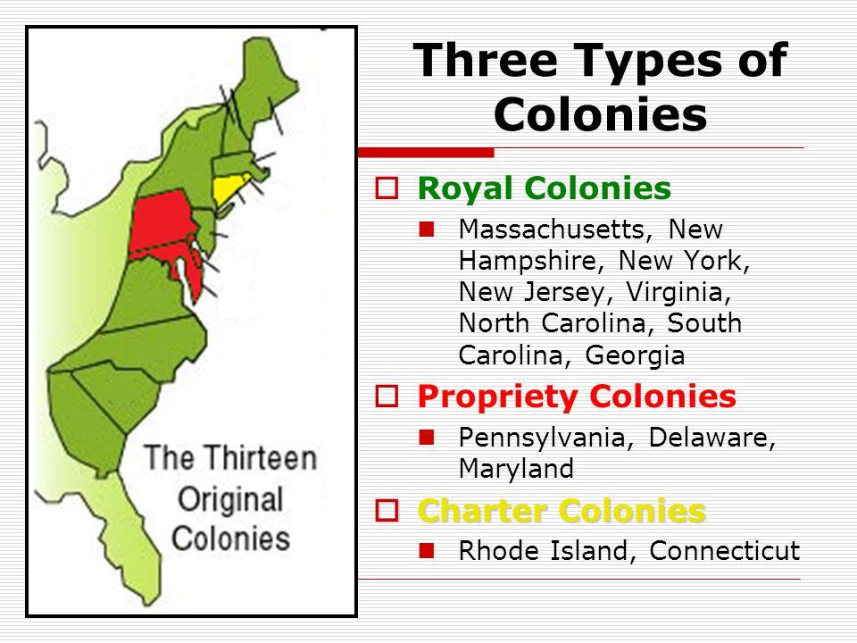  Royal Colonies Massachusetts, New Hampshire, New York, New Jersey, Virginia, North Carolina, South Carolina, Georgia  Propriety Colonies Pennsylvania, Delaware, Maryland  Charter Colonies Rhode Island, Connecticut Three Types of Colonies