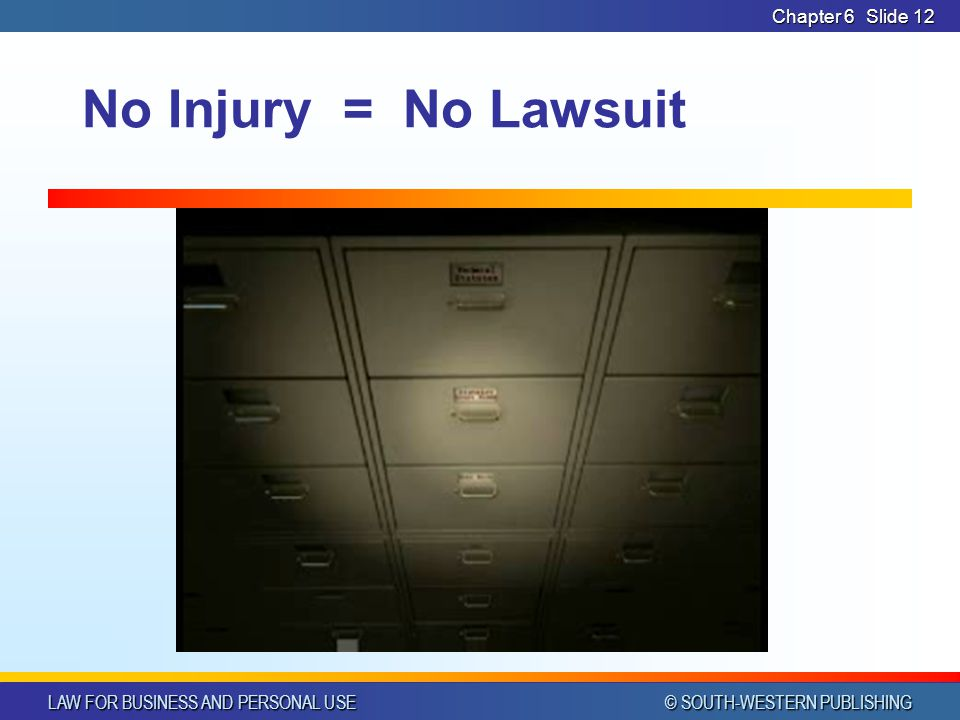 LAW FOR BUSINESS AND PERSONAL USE © SOUTH-WESTERN PUBLISHING Chapter 6Slide 12 No Injury = No Lawsuit
