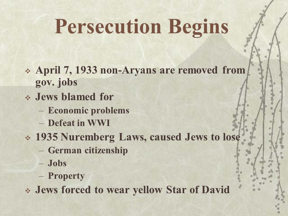 Persecution Begins  April 7, 1933 non-Aryans are removed from gov.
