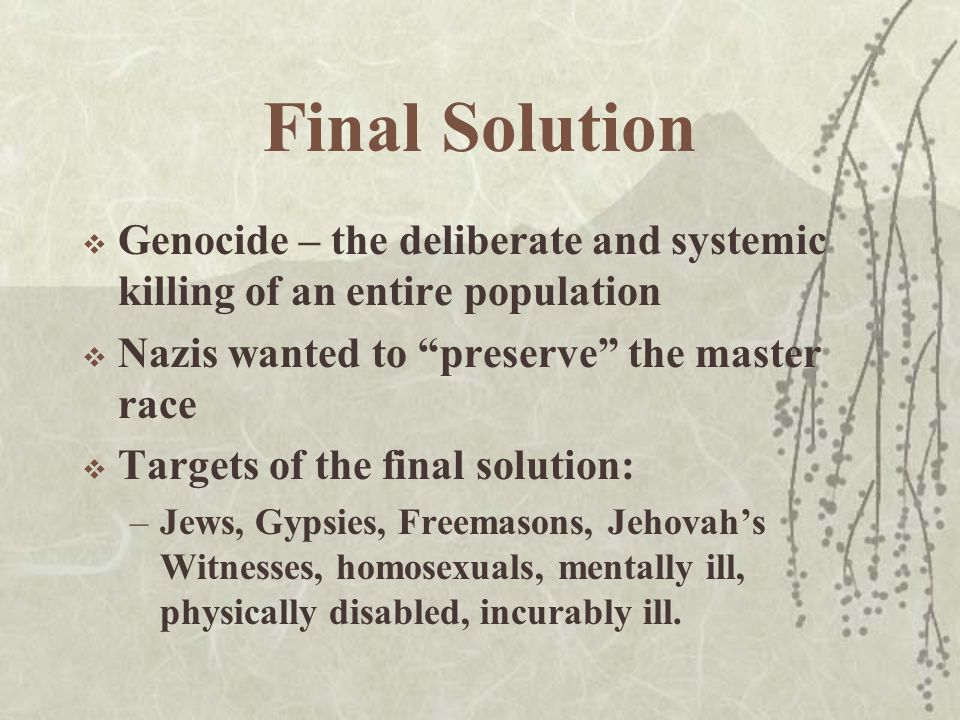 Final Solution  Genocide – the deliberate and systemic killing of an entire population  Nazis wanted to preserve the master race  Targets of the final solution: –Jews, Gypsies, Freemasons, Jehovah's Witnesses, homosexuals, mentally ill, physically disabled, incurably ill.