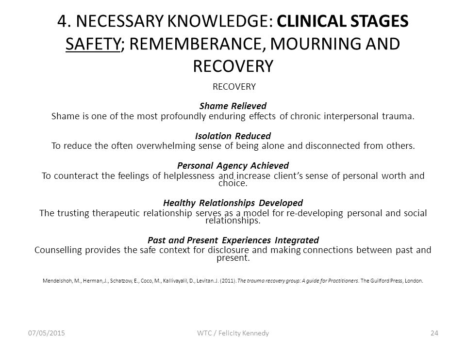 4. NECESSARY KNOWLEDGE: CLINICAL STAGES SAFETY; REMEMBERANCE, MOURNING AND RECOVERY RECOVERY Shame Relieved Shame is one of the most profoundly enduri