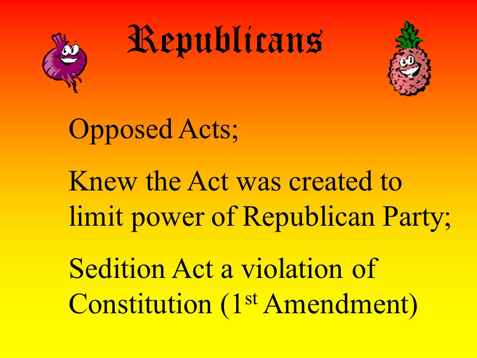 Federalists Supported Acts; Alien Act affected Republican population (immigrants tended to join Rep.