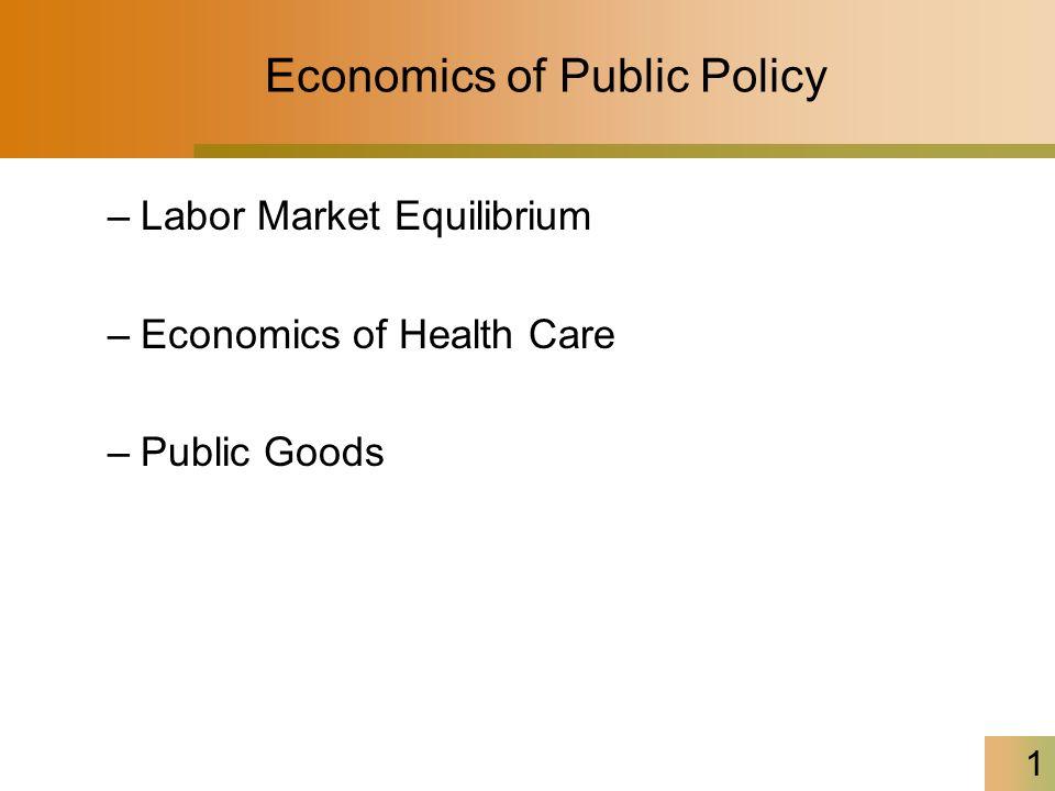 1 Economics of Public Policy –Labor Market Equilibrium –Economics of Health Care –Public Goods