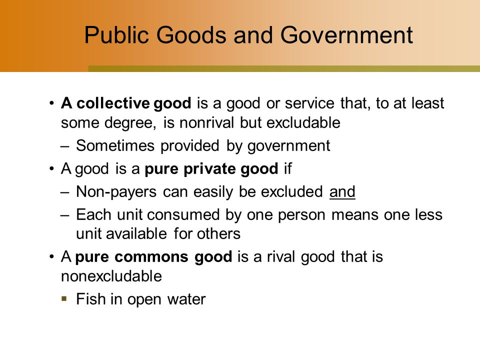 Public Goods and Government A collective good is a good or service that, to at least some degree, is nonrival but excludable –Sometimes provided by government A good is a pure private good if –Non-payers can easily be excluded and –Each unit consumed by one person means one less unit available for others A pure commons good is a rival good that is nonexcludable  Fish in open water
