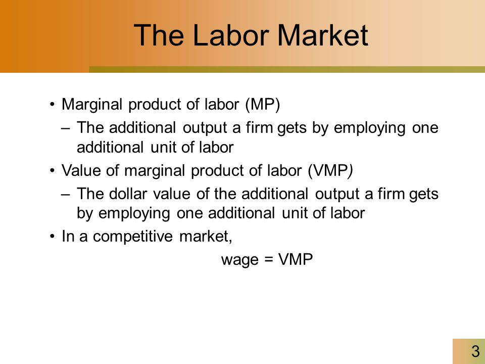 3 The Labor Market Marginal product of labor (MP) –The additional output a firm gets by employing one additional unit of labor Value of marginal product of labor (VMP) –The dollar value of the additional output a firm gets by employing one additional unit of labor In a competitive market, wage = VMP