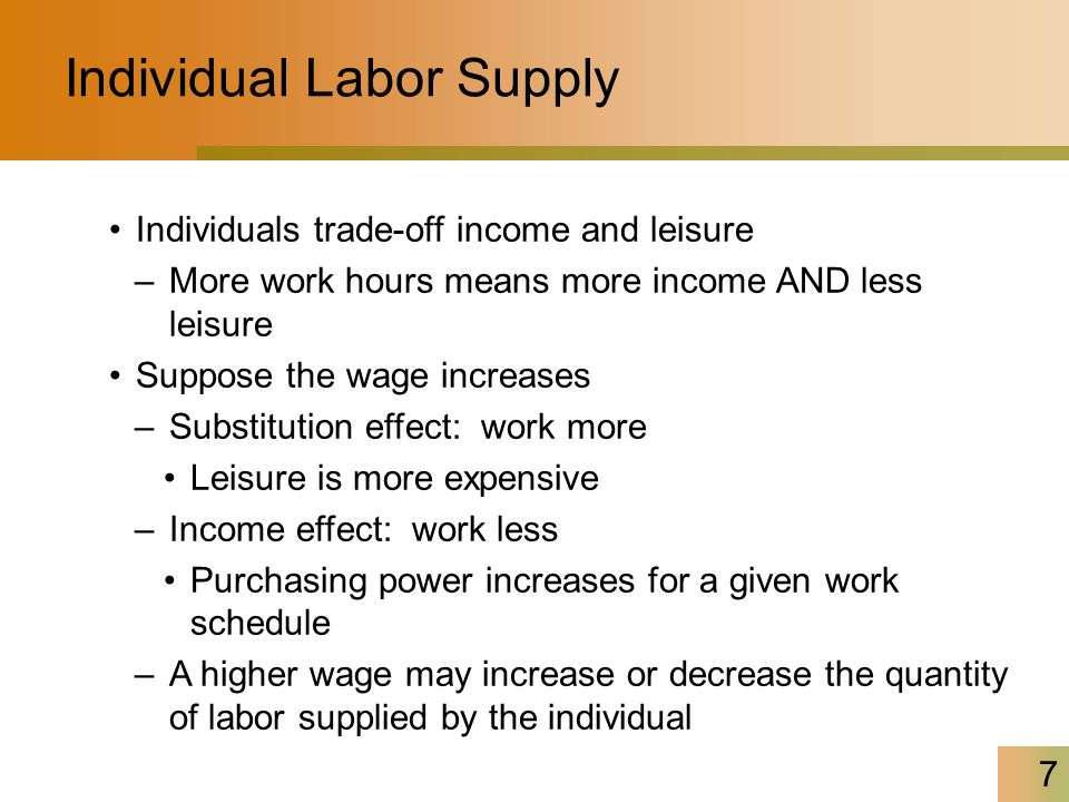 8 Labor Supply of Programmers Labor supply for a single profession has a positive slope –Higher wages attract workers from other careers An increase in wages from W 1 to W 2 increases quantity of labor supplied from L 1 to L 2 –Movement along the labor supply curve Employment of programmers (work-hours/year) L1L1 W1W1 L2L2 W2W2 S Wage ($/hour)