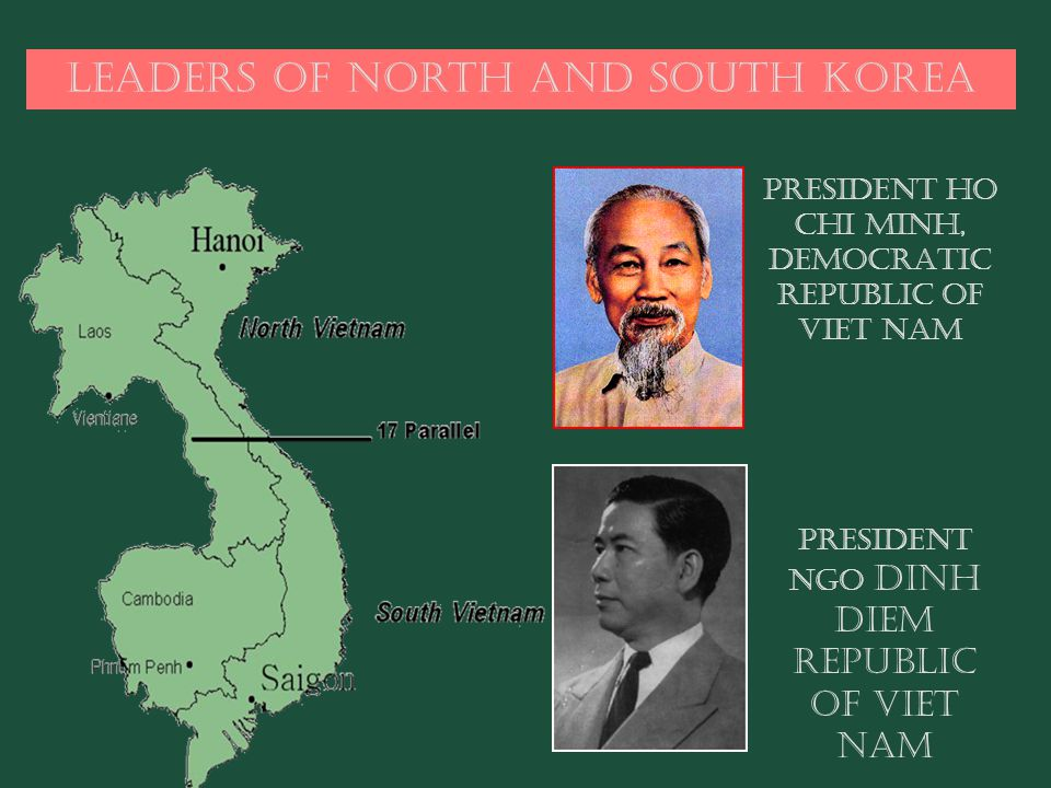 Leaders of North and South Korea PRESIDENT HO CHI MINH, DEMOCRATIC REPUBLIC OF VIET NAM PRESIDENT NGO DINH DIEM REPUBLIC OF VIET NAM
