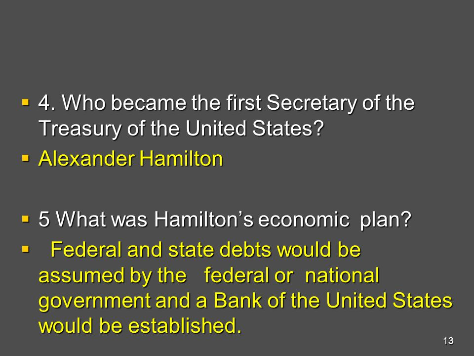  4.Who became the first Secretary of the Treasury of the United States.