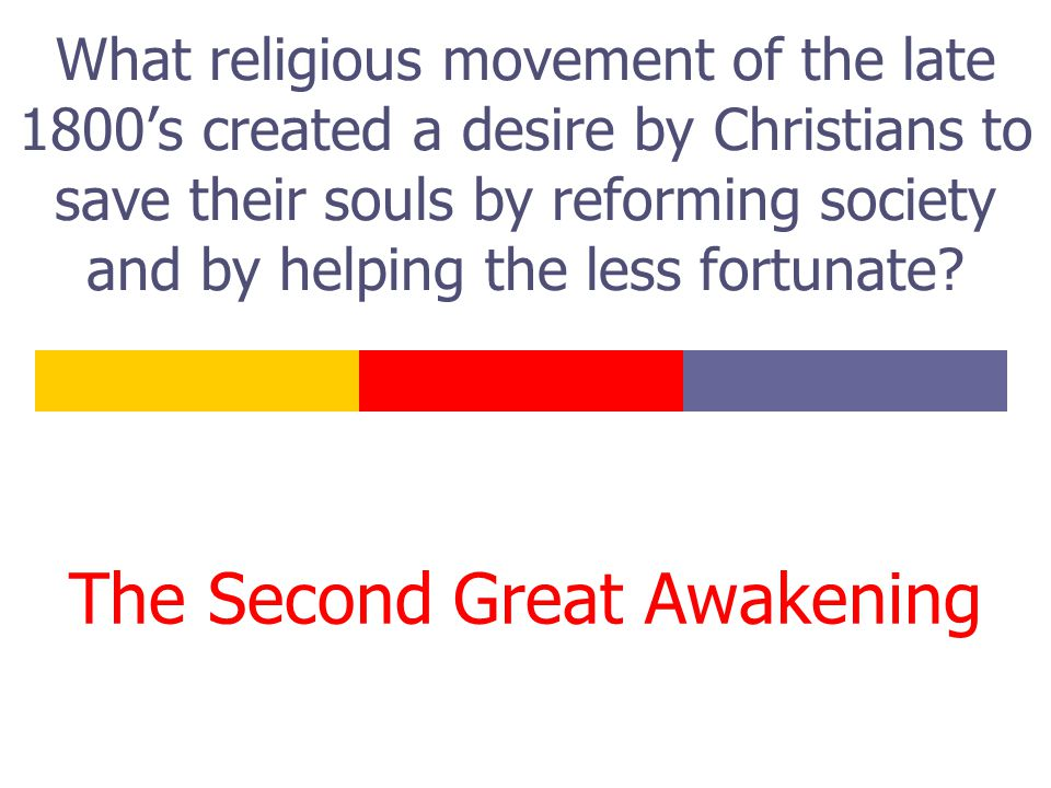 What religious movement of the late 1800's created a desire by Christians to save their souls by reforming society and by helping the less fortunate?