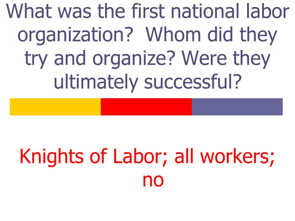 What was the first national labor organization. Whom did they try and organize.