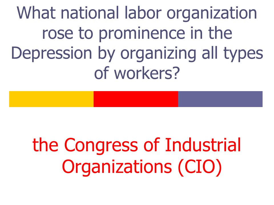 What national labor organization rose to prominence in the Depression by organizing all types of workers? the Congress of Industrial Organizations (CI
