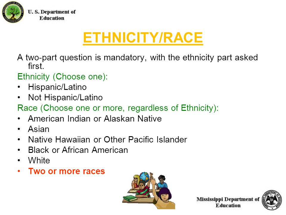 21 ETHNICITY/RACE A two-part question is mandatory, with the ethnicity part asked first.