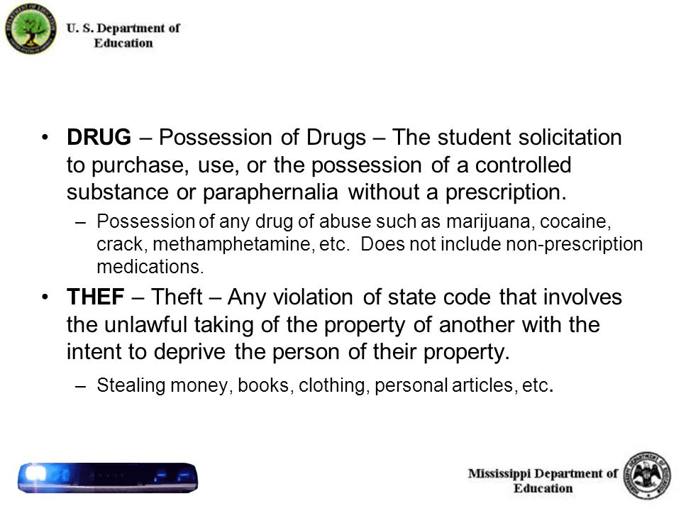 41 DRUG – Possession of Drugs – The student solicitation to purchase, use, or the possession of a controlled substance or paraphernalia without a prescription.