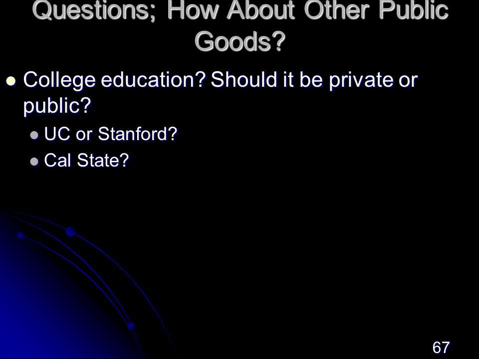 67 Questions; How About Other Public Goods.College education.