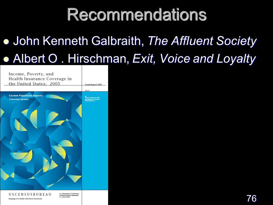 76Recommendations John Kenneth Galbraith, The Affluent Society John Kenneth Galbraith, The Affluent Society Albert O.