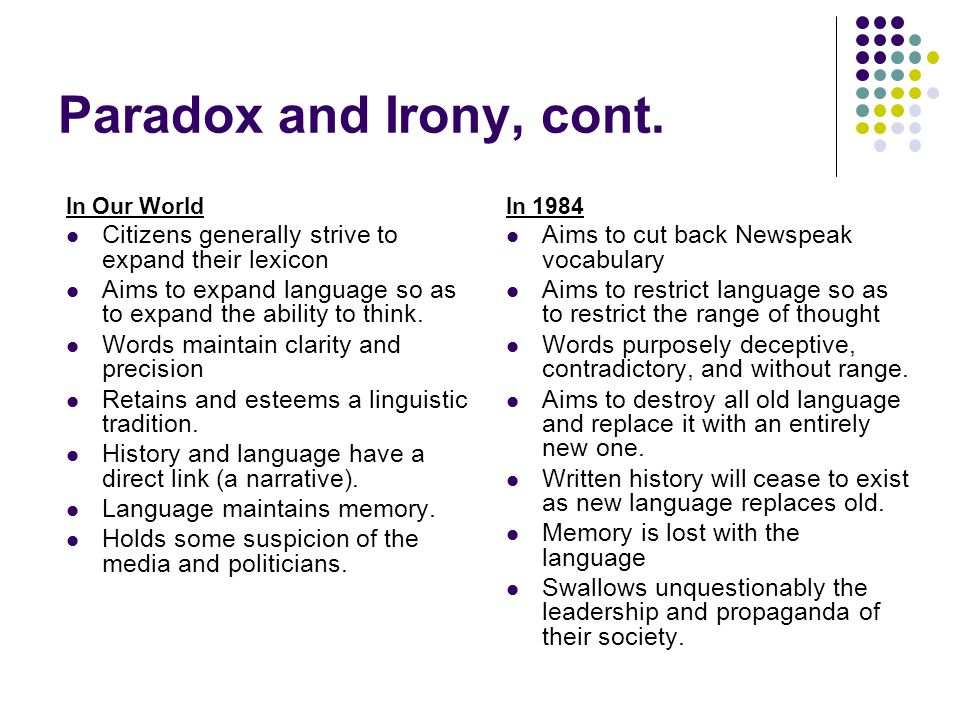 Paradox and Irony, cont. In Our World Citizens generally strive to expand their lexicon Aims to expand language so as to expand the ability to think.