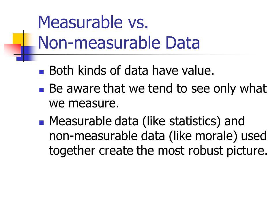 Measurable vs. Non-measurable Data Both kinds of data have value.
