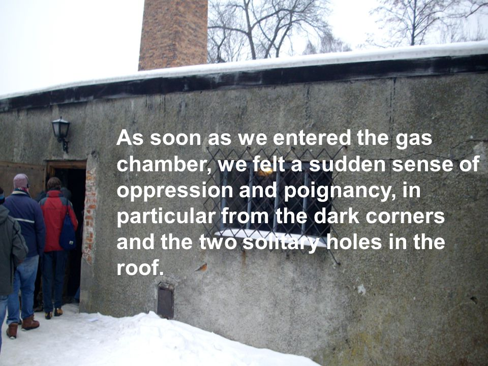 As soon as we entered the gas chamber, we felt a sudden sense of oppression and poignancy, in particular from the dark corners and the two solitary holes in the roof.