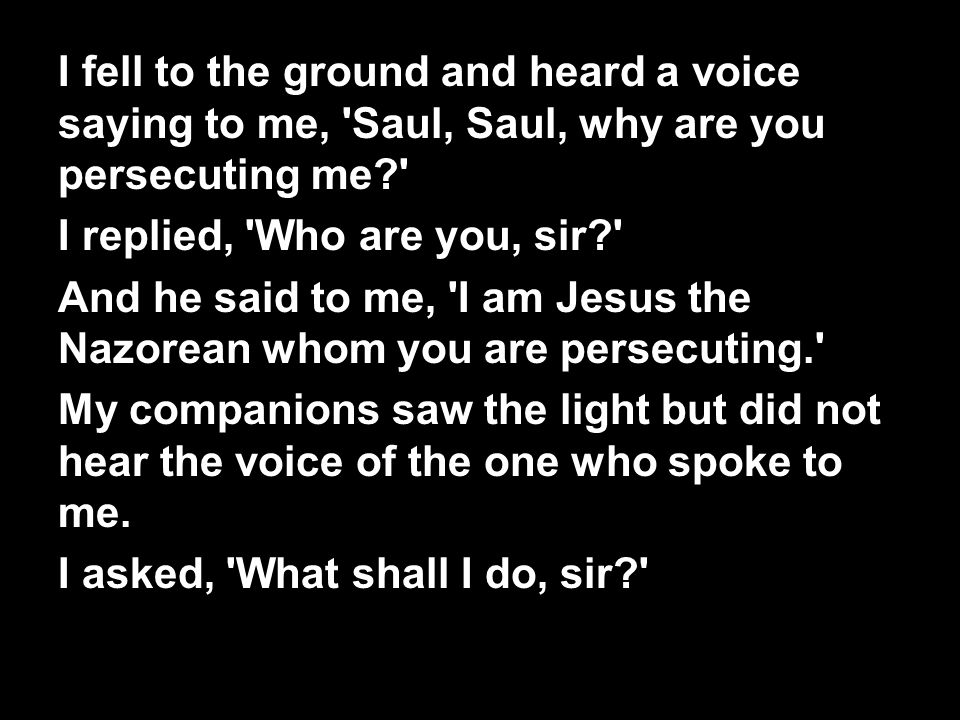 I fell to the ground and heard a voice saying to me, Saul, Saul, why are you persecuting me I replied, Who are you, sir And he said to me, I am Jesus the Nazorean whom you are persecuting. My companions saw the light but did not hear the voice of the one who spoke to me.