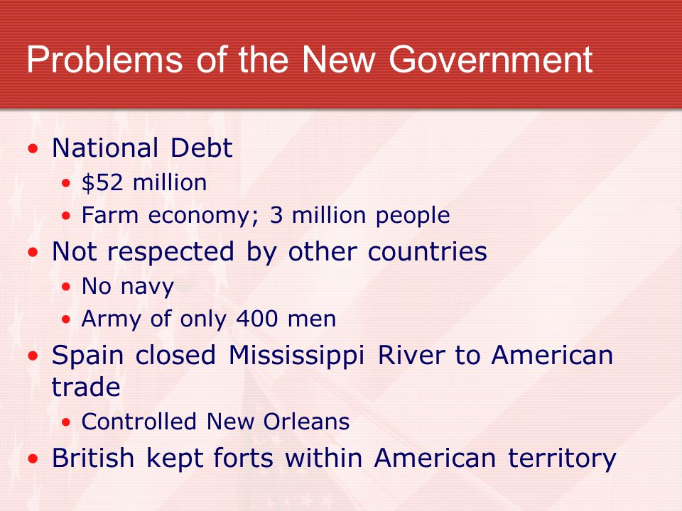 Problems of the New Government National Debt $52 million Farm economy; 3 million people Not respected by other countries No navy Army of only 400 men