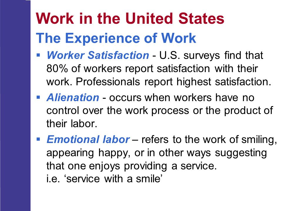 The Experience of Work  Worker Satisfaction - U.S. surveys find that 80% of workers report satisfaction with their work. Professionals report highest