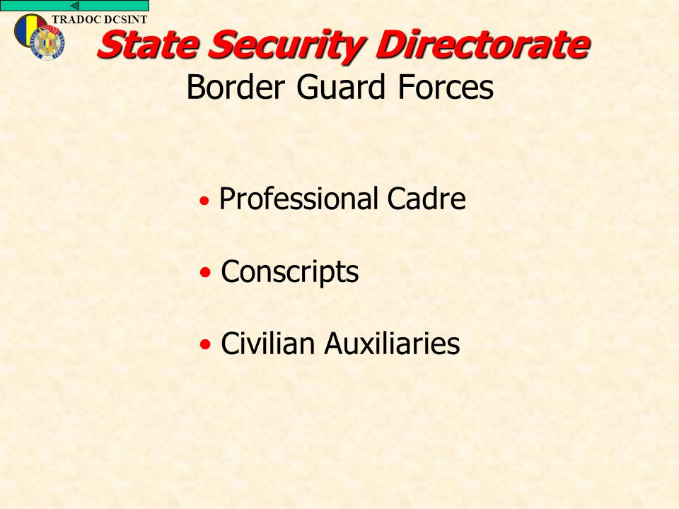 TRADOC DCSINT Professional Cadre Conscripts Civilian Auxiliaries State Security Directorate State Security Directorate Border Guard Forces