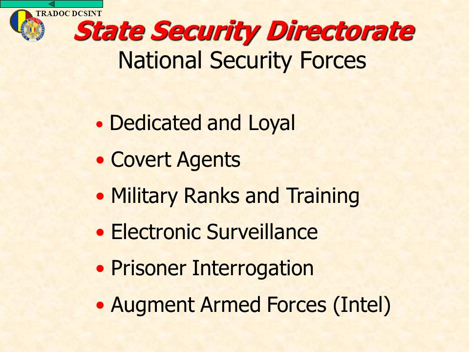TRADOC DCSINT Dedicated and Loyal Covert Agents Military Ranks and Training Electronic Surveillance Prisoner Interrogation Augment Armed Forces (Intel