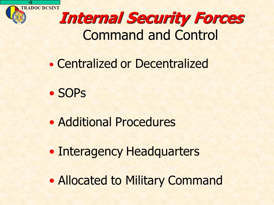 TRADOC DCSINT Centralized or Decentralized SOPs Additional Procedures Interagency Headquarters Allocated to Military Command Internal Security Forces