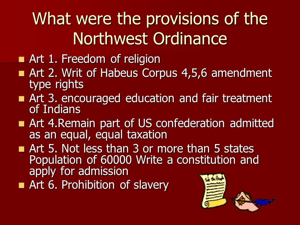 What were the provisions of the Northwest Ordinance Art 1.