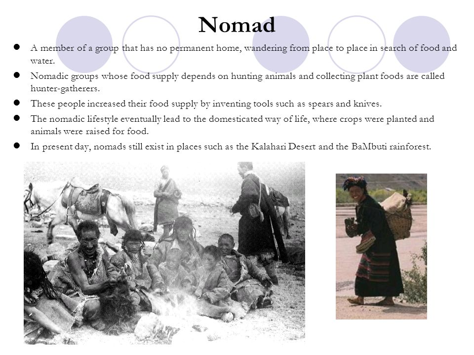 Nomad A member of a group that has no permanent home, wandering from place to place in search of food and water. Nomadic groups whose food supply depe